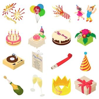 Set di icone di festa di compleanno. un'illustrazione isometrica di 16 icone di vettore di festa di compleanno per il web