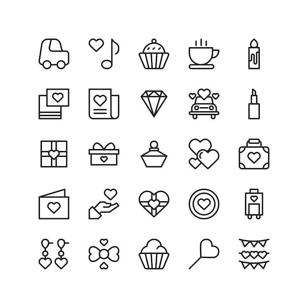 Set di icone di festa di matrimonio