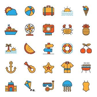 Set di icone di festa vacanze estive