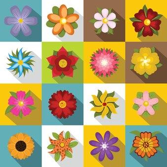 Set di icone di fiori diversi, stile piatto