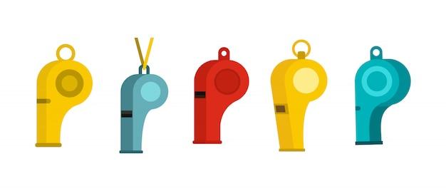 Set di icone di fischio. insieme piano della raccolta delle icone di vettore del fischio isolata