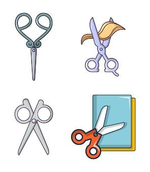 Set di icone di forbici. l'insieme del fumetto delle icone di vettore di forbici ha messo isolato