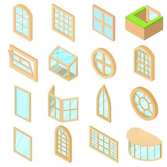 Set di icone di forme finestra. l'illustrazione isometrica di 16 icone delle forme della finestra ha messo le icone di vettore per il web