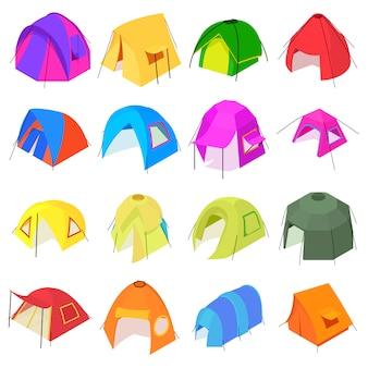 Set di icone di forme tenda. l'illustrazione isometrica di 16 forme della tenda vector le icone per il web