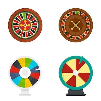 Set di icone di fortuna della ruota di roulette