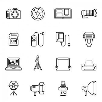 Set di icone di fotocamera e fotografia