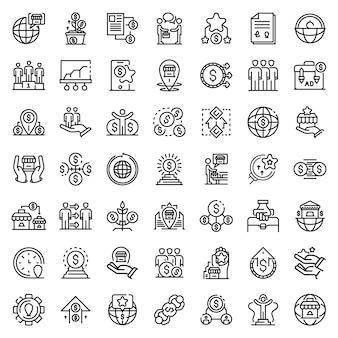 Set di icone di franchising, struttura di stile