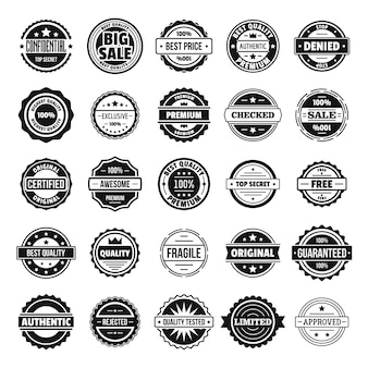 Set di icone di francobolli d'epoca distintivi ed etichette