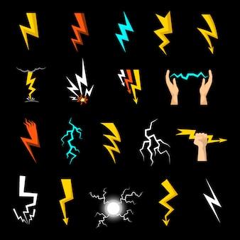 Set di icone di fulmine