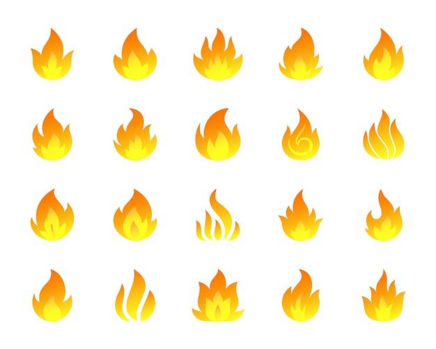 Set di icone di fuoco ardente, segno di falò fiamma, inferno infuocato, segno di incandescenza.