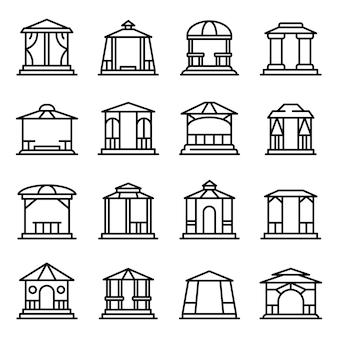 Set di icone di gazebo, struttura di stile