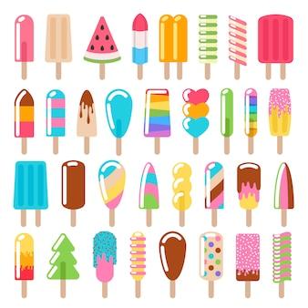 Set di icone di gelato ghiacciolo.