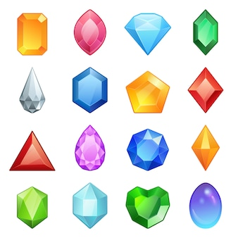 Set di icone di gemme e diamanti in diversi colori