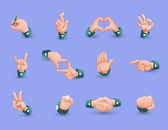 Set di icone di gesti delle mani