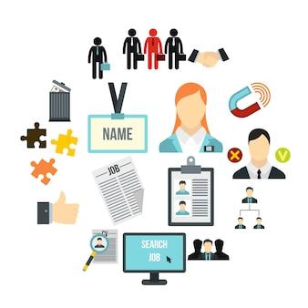 Set di icone di gestione delle risorse umane, stile piano