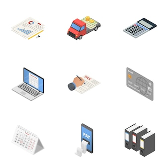Set di icone di gioco di dati, stile isometrico