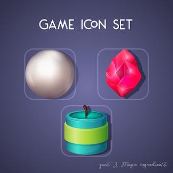 Set di icone di gioco in stile cartoon. ingredienti magici: perla, cristallo e candela. design luminoso per l'interfaccia utente dell'app.