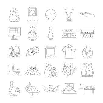 Set di icone di gioco kegling bowling