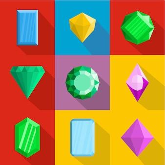 Set di icone di gioielli. set piatto di 9 icone di gioielli