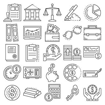 Set di icone di giorno di contabilità. insieme del profilo delle icone di vettore di giorno di contabilità