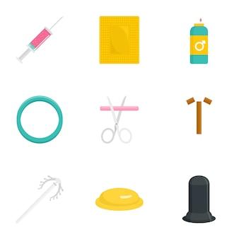 Set di icone di giorno di contraccezione. set piatto di 9 icone del giorno di contraccezione