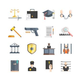 Set di icone di giustizia