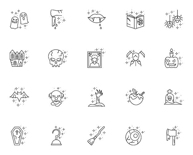 Set di icone di halloween di contorno