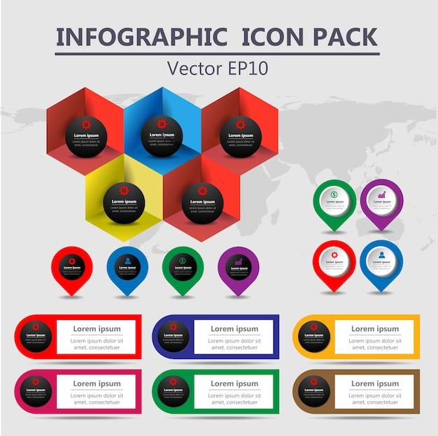 Set di icone di icone di timeline di informazioni grafiche
