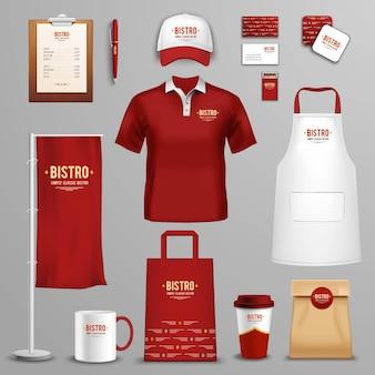 Set di icone di identità aziendale ristorante café