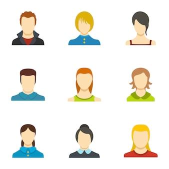 Set di icone di identità. set piatto di 9 icone di identità