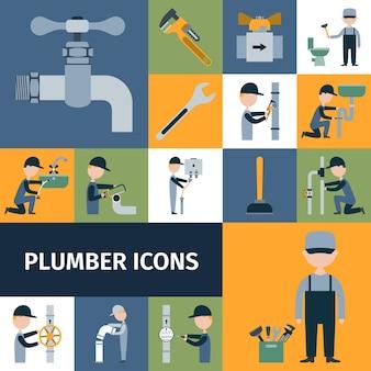 Set di icone di idraulico