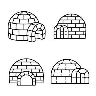 Set di icone di igloo, struttura di stile