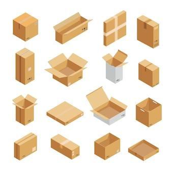 Set di icone di imballaggio pacco