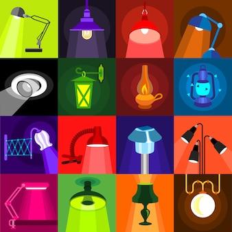 Set di icone di incandescenza della lampada.