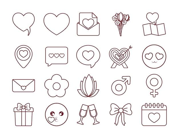 Set di icone di incontri online