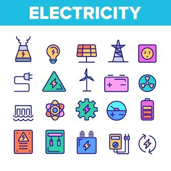 Set di icone di industria di elettricità