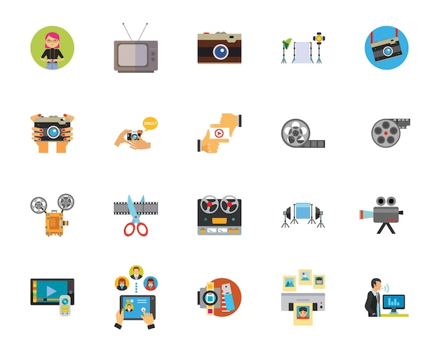 Set di icone di industria foto e video