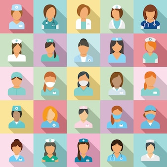 Set di icone di infermiere