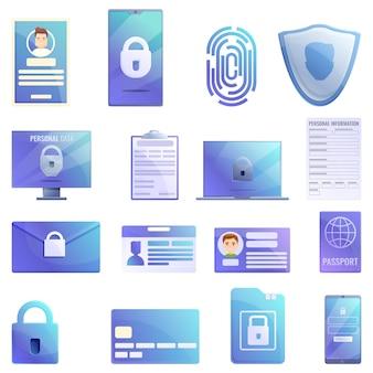 Set di icone di informazioni personali, stile cartoon