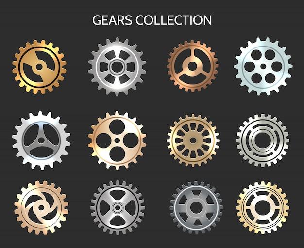 Set di icone di ingranaggi in metallo o ruote dentate orologio