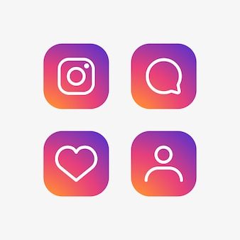 Set di icone di instagram