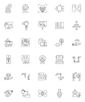 Set di icone di intelligenza artificiale di contorno