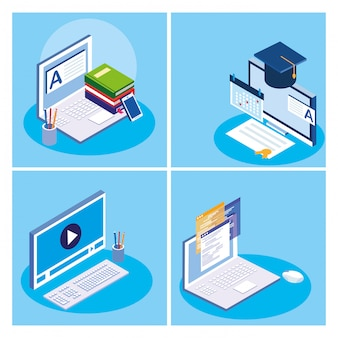 Set di icone di istruzione online