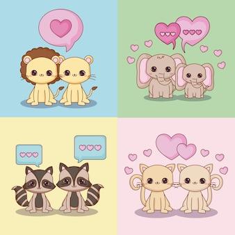 Set di icone di kawaii innamorato paio di animali