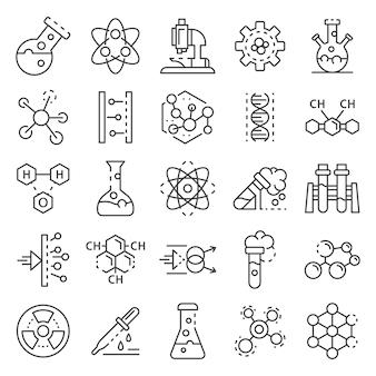 Set di icone di laboratorio di chimica. insieme del profilo delle icone di vettore del laboratorio di chimica