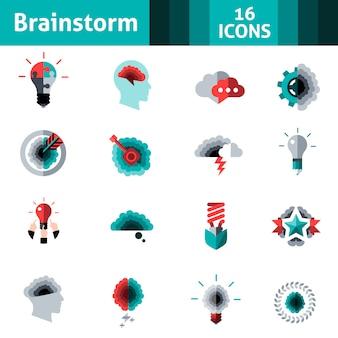 Set di icone di lampo di genio