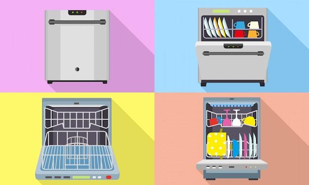 Set di icone di lavastoviglie. set piatto di vettore di lavastoviglie