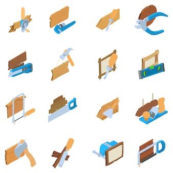 Set di icone di lavorazione del legno