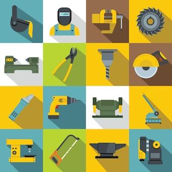 Set di icone di lavorazione del metallo, stile piano