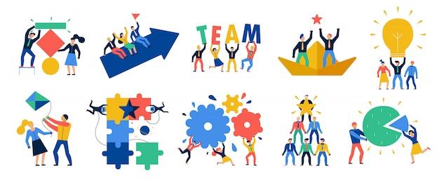 Set di icone di lavoro di squadra